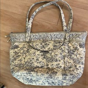 Toile Print Large Quilted Knitting Bag